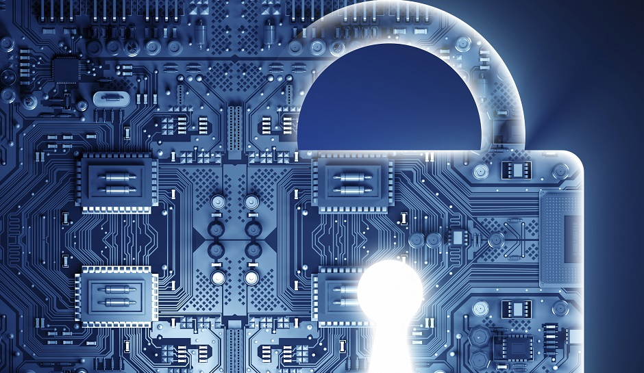 Cyber security concep with lock.