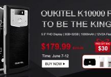 предзаказ на Oukitel K10000 Pro с ценой $179.99