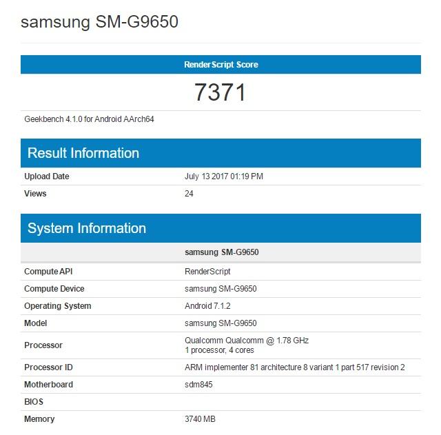 Samsung Galaxy S9 на Snapdragon 845 в Geekbench